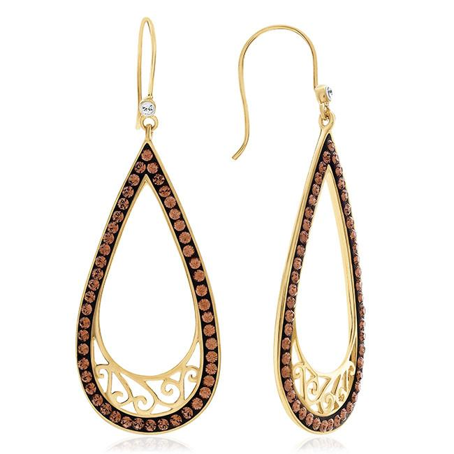 Brown and White Swarovski Element Earrings in Gold-Plated Silver