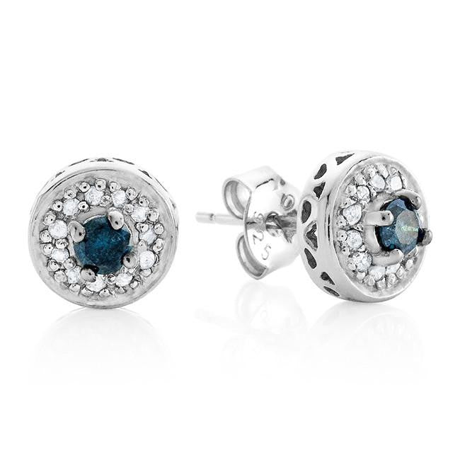 0.25 Carat tw Blue & White Diamond Stud Earrings in Sterling Silver