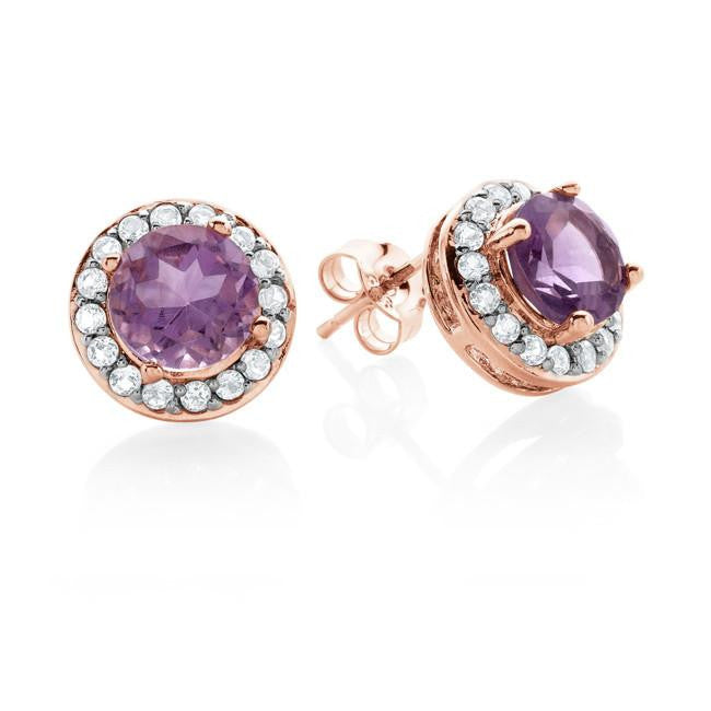 2.15 Carat Genuine Amethyst Halo Stud Earrings in Rose Gold over Sterling Silver