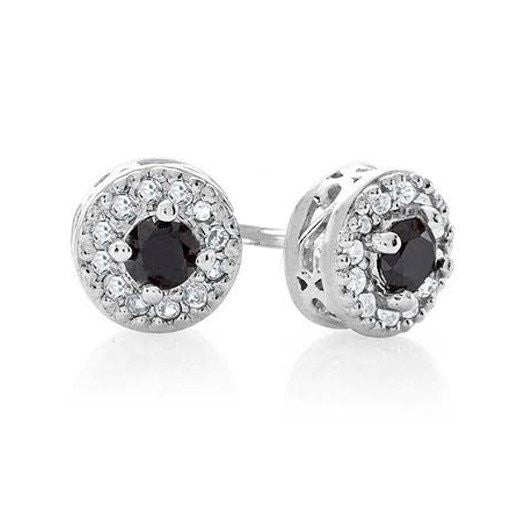 1/3 Carat Black & White Diamond Halo Stud Earrings in Sterling Silver