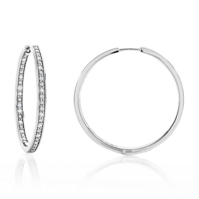 1/4 Carat Diamond Inside-Out Hoop Earrings in Sterling Silver