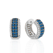 Load image into Gallery viewer, 2.00 Carat Blue, Champagne & White Diamond Reversible Hoop Earrings in Sterling Silver