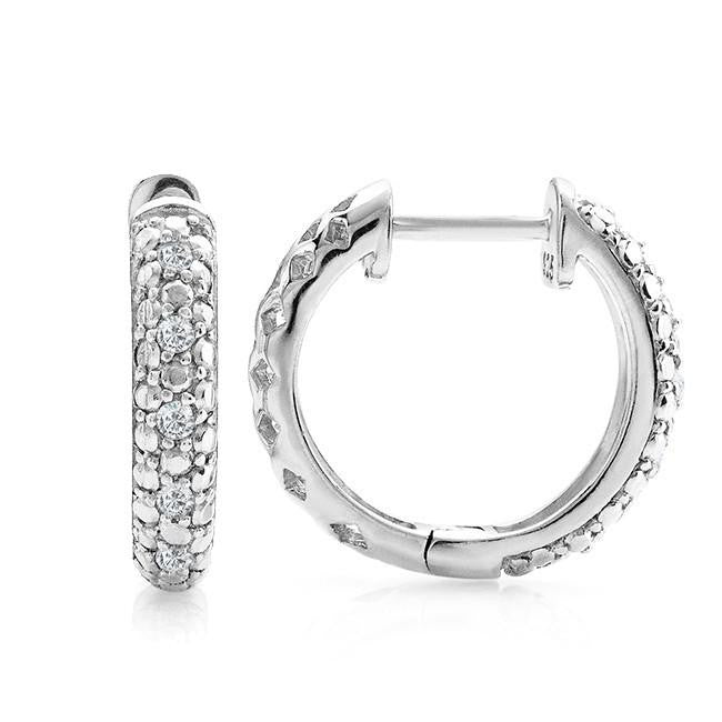 Diamond Huggie Hoop Earrings in Sterling Silver