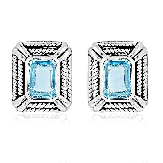 Blue Topaz Emerald-Cut Stud Earrings in Antique Finished Sterling Silver