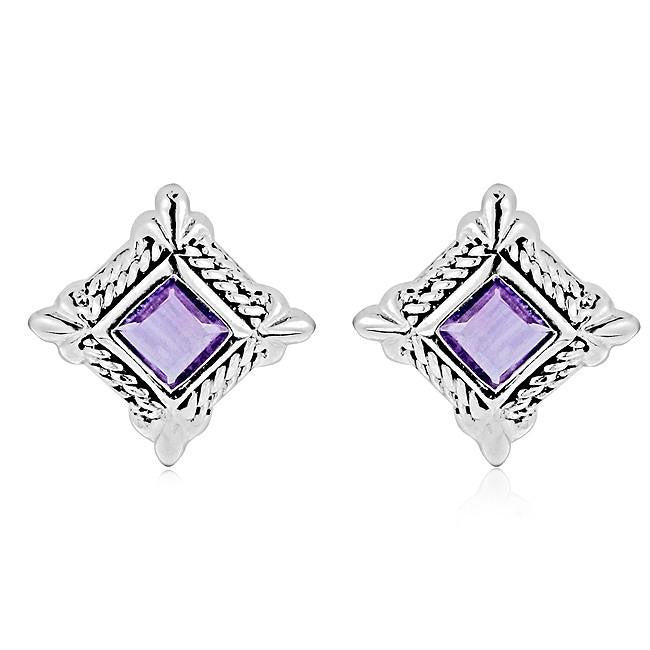 1.00 Carat Amethyst Square Stud Earrings in Antique Finished Sterling Silver