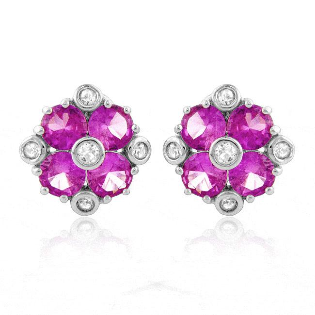 4.00 Carat Rose and White Sapphire Stud Earrings in Sterling Silver