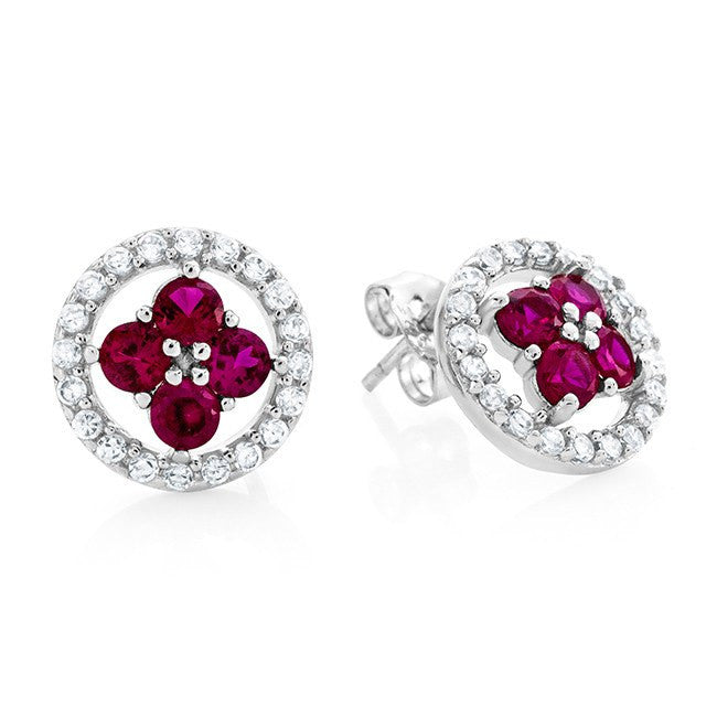 1.20 Carat Ruby Halo Earrings in Sterling Silver