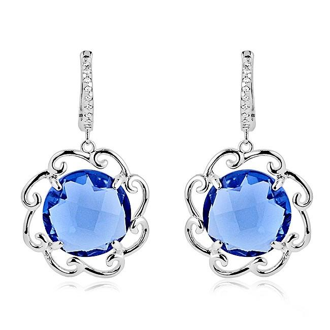 Sterling Silver Blue Sapphire Floral Earrings