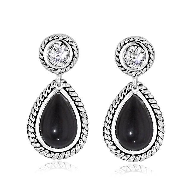 Black Onyx and Cubic Zirconia Pear-Shaped Earrings in Sterling Silver