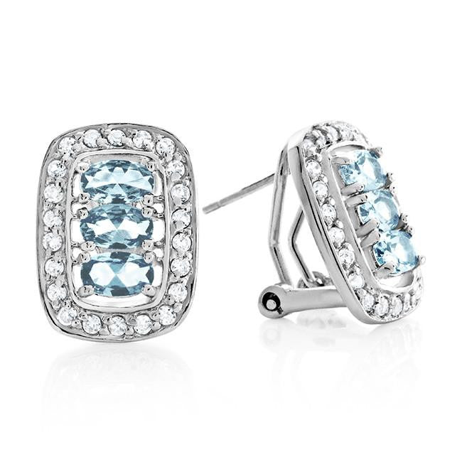 Sterling Silver Aquamarine and White Sapphire Earrings