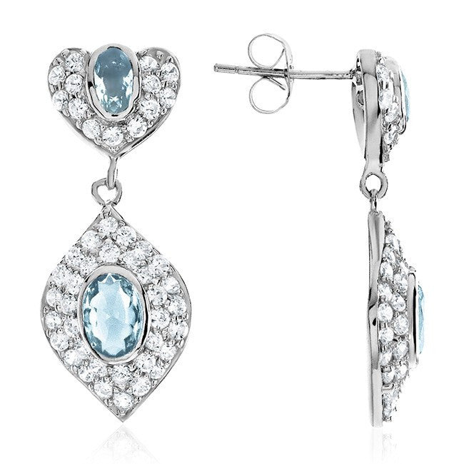 Aquamarine & Cubic Zirconia Dangle Earrings in Sterling Silver