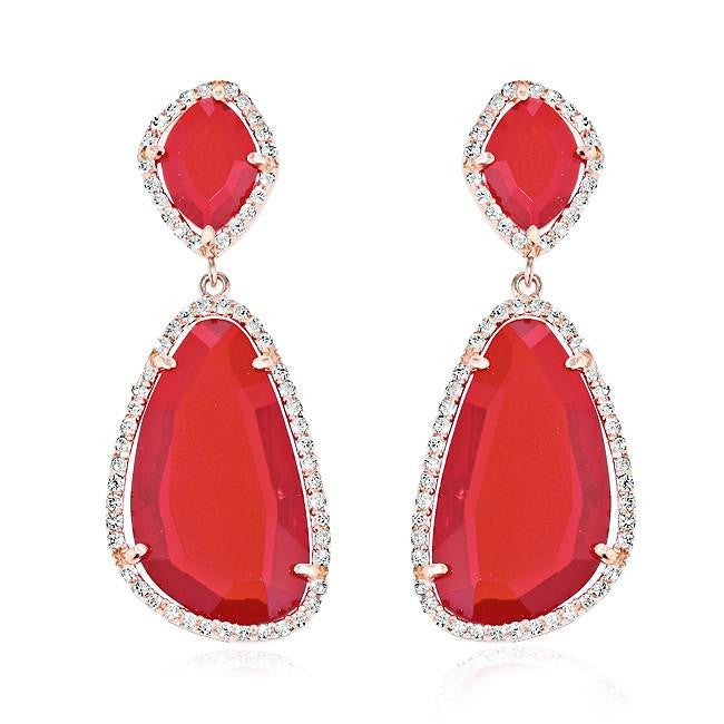 Red Agate Dangling Earrings with Cubic Zirconia Accents in Sterling Silver