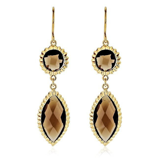 Smoky Topaz Dangle Earrings in 14K Yellow Gold/Sterling Silver