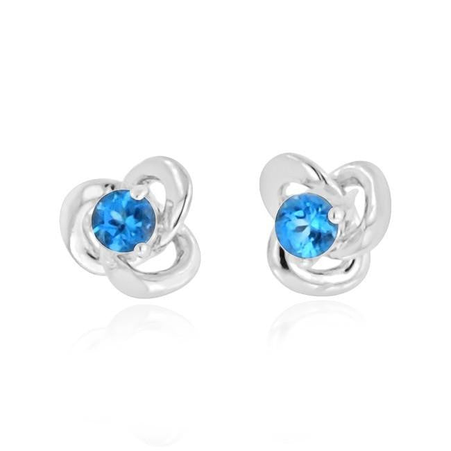 0.25 Carat Blue Topaz Knot Stud Earrings in Sterling Silver