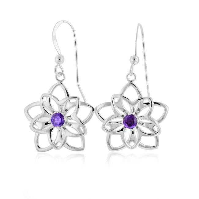 0.50 Carat Amethyst Flower Earrings in Sterling Silver