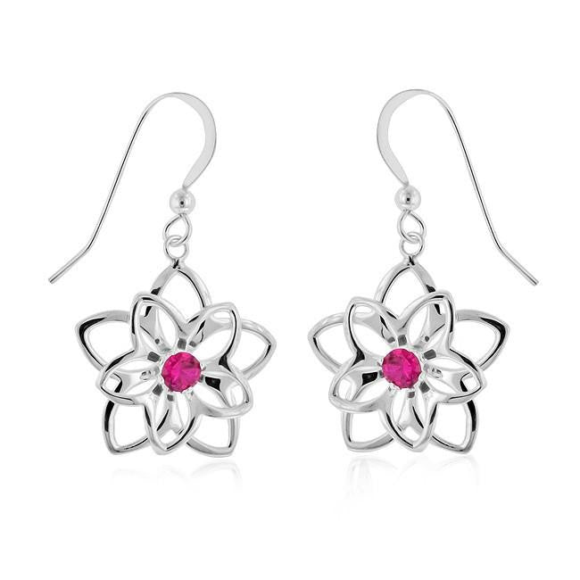 0.50 Carat Ruby Flower Earrings in Sterling Silver