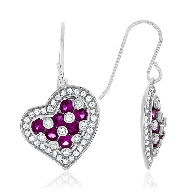 4.50 Carat Ruby and CZ Heart Earrings in Sterling Silver