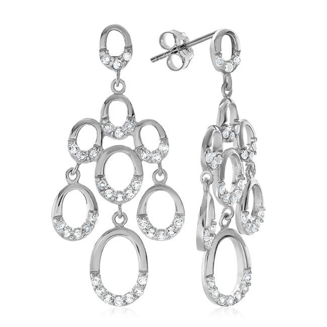 1.70 Carat White Sapphire Earrings in Sterling Silver