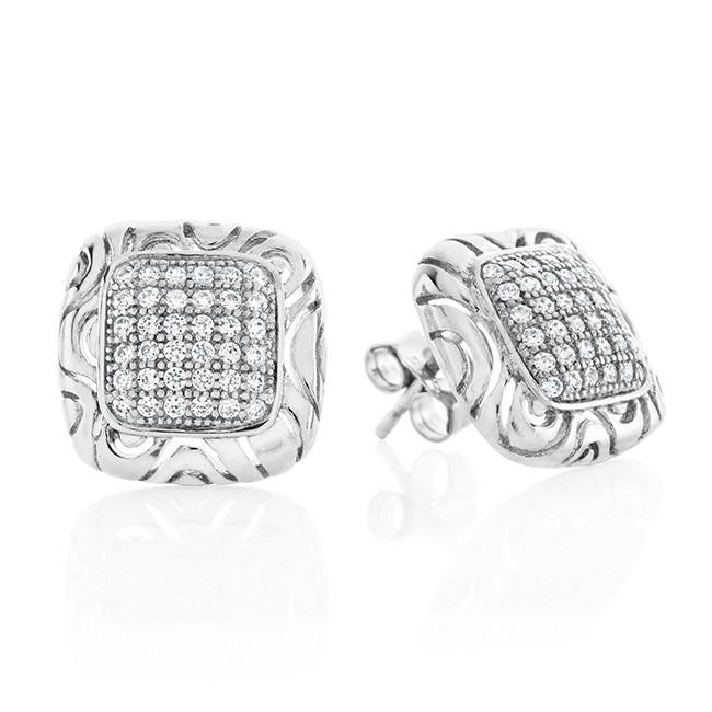 Sterling Silver Micropave CZ Square Earrings