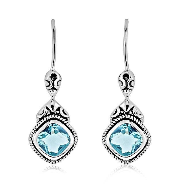 Aquamarine Cushion-Cut Earrings in Antique Finished Sterling Silver