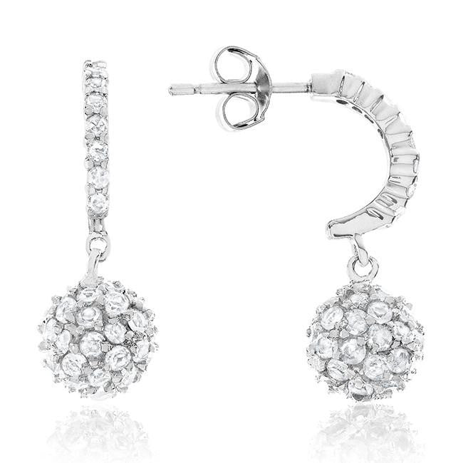 Sterling Silver White Sapphire Sphere Drop Earrings