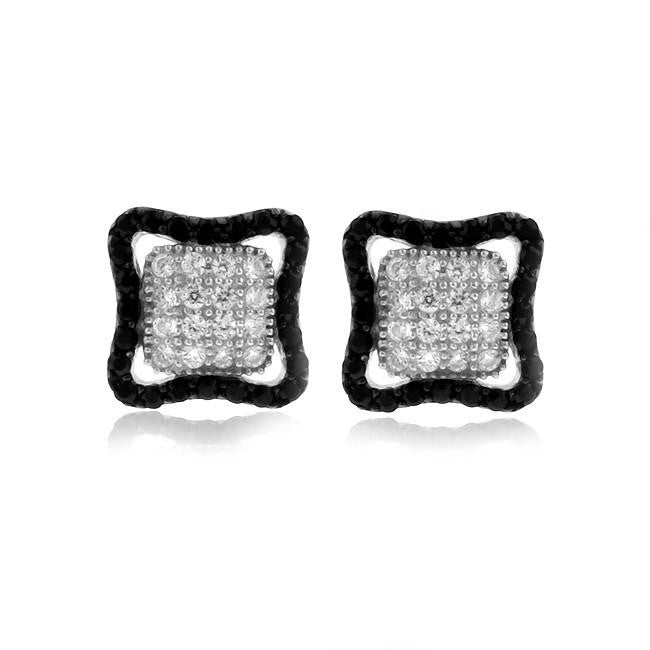 Sterling Silver Black & White CZ Square Earrings