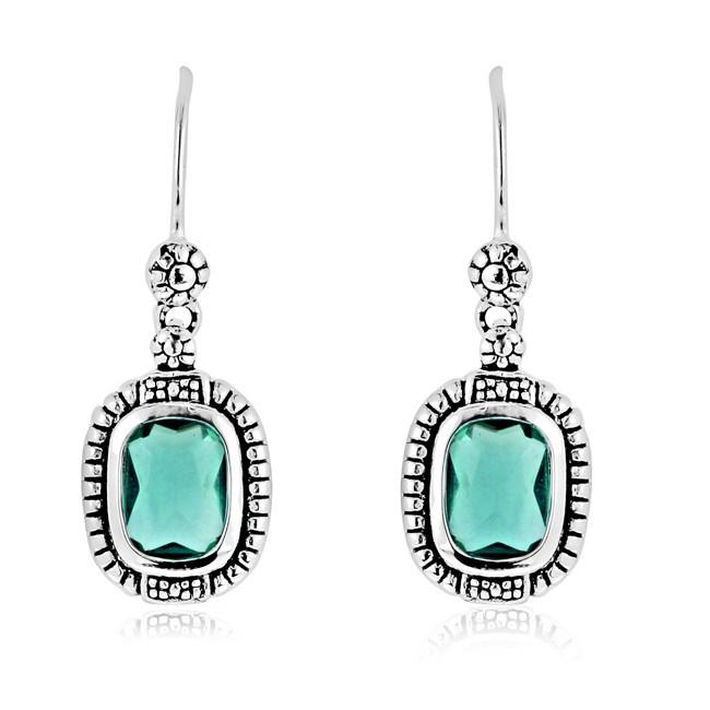Green Spinel Earrings in Antique Finished Sterling Silver