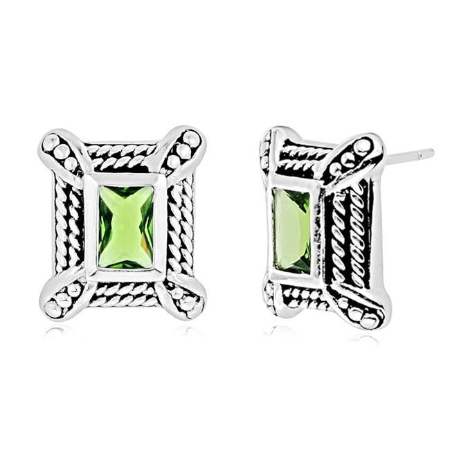 Simulated Peridot Stud Earrings in Sterling Silver with Antique Finish