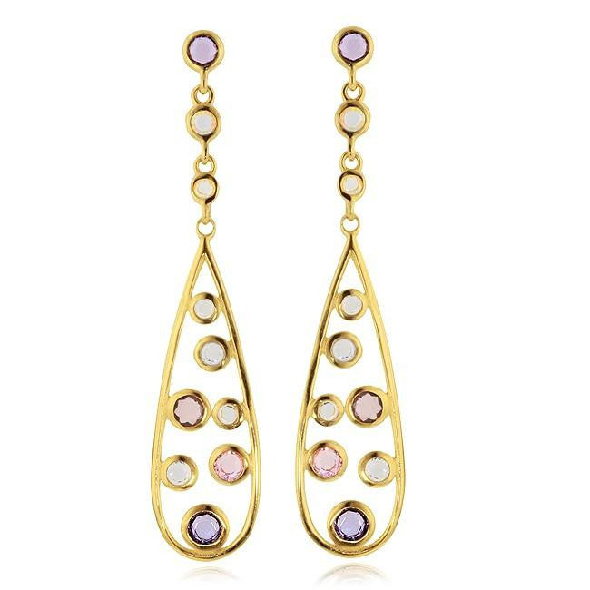 Simulated Diamond and Gemstone Dangle Teardrop Earrings in Gold-Plated Silver