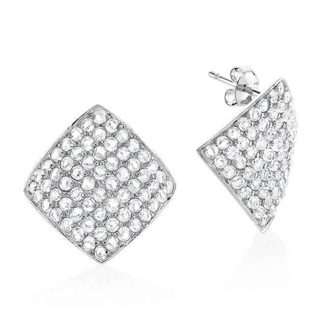 Sterling Silver White  Sapphire Earrings