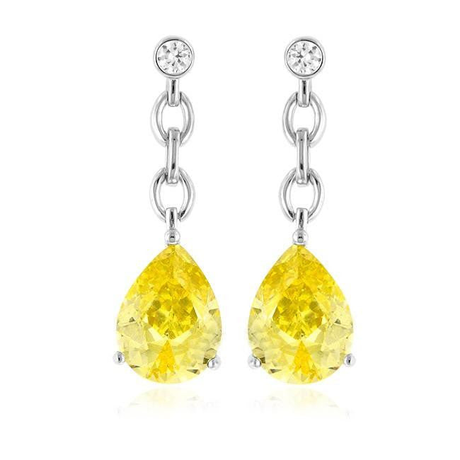 8.60 Carat tw Yellow & White Sapphire Drop Earrings in Sterling Silver