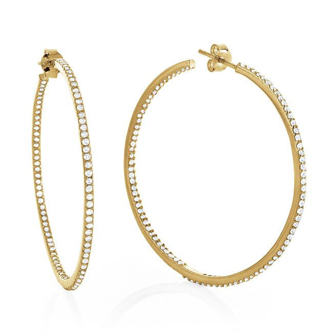 2.00 Carat tw White Sapphire Hoop Earrings in Gold over Sterling Silver