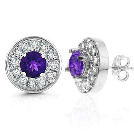 2.00 Carat tw Amethyst & White Sapphire Halo Earrings in Sterling Silver