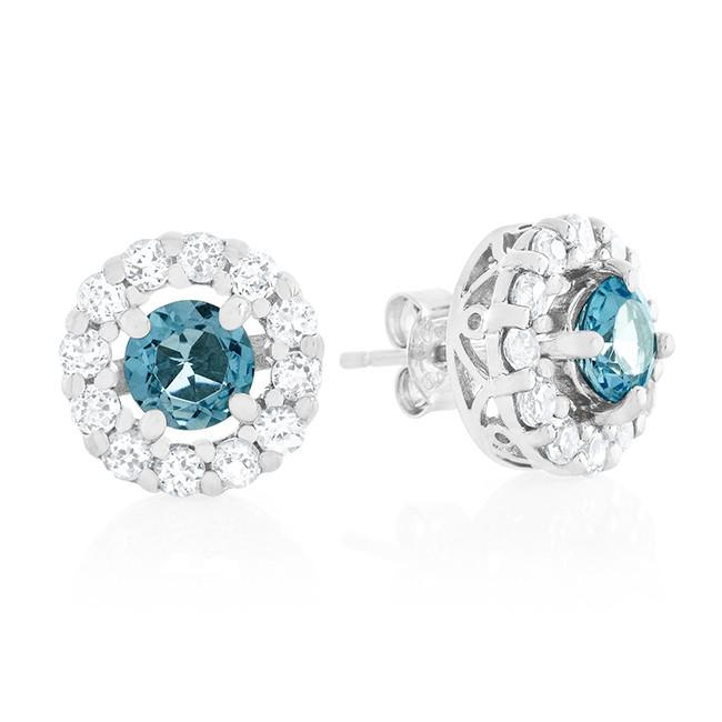 1.50 Carat Blue Topaz & White Sapphire Earrings in Sterling Silver