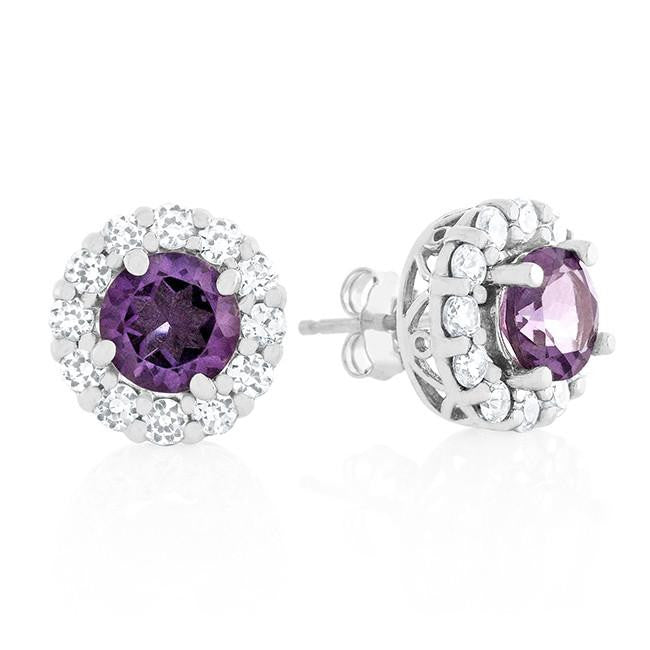 2.00 Carat Amethyst & White Sapphire Earrings in Sterling Silver