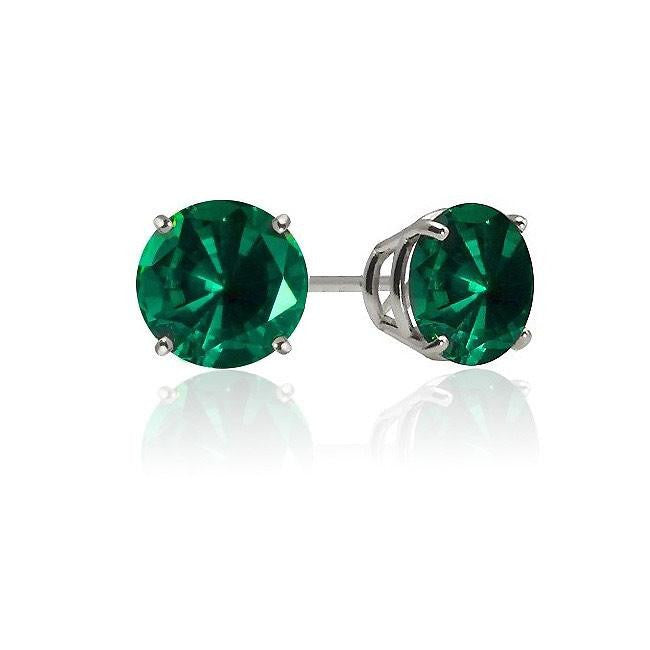 1.00 Carat Emerald Stud Earrings in Sterling Silver