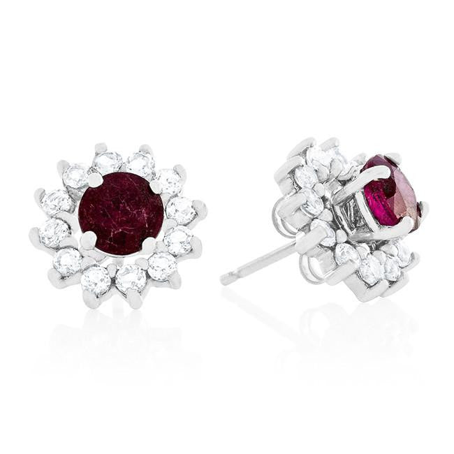 1.25ct TW Genuine Ruby Stud Earrings with White Sapphire Jackets in Sterling Silver