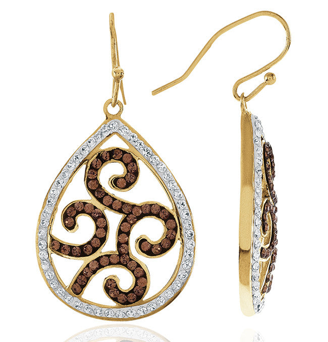 Brown & White Crystal Teardrop Earrings in Yellow Gold Over Sterling Silver