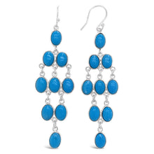 Load image into Gallery viewer, 16.25 Carat Genuine Turquoise Drop Earrings in Sterling Silver