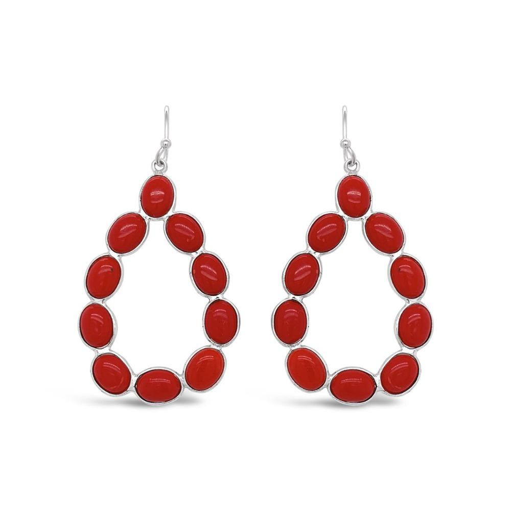 17.00 Carat Genuine Coral Teardrop Earrings in Sterling Silver
