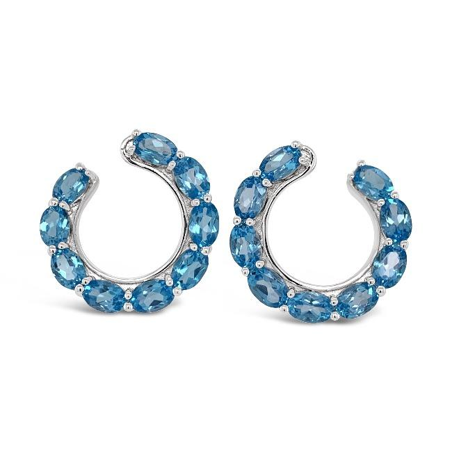 7.50 Carat Genuine Swiss Blue Topaz Side Hoop Earrings in Sterling Silver