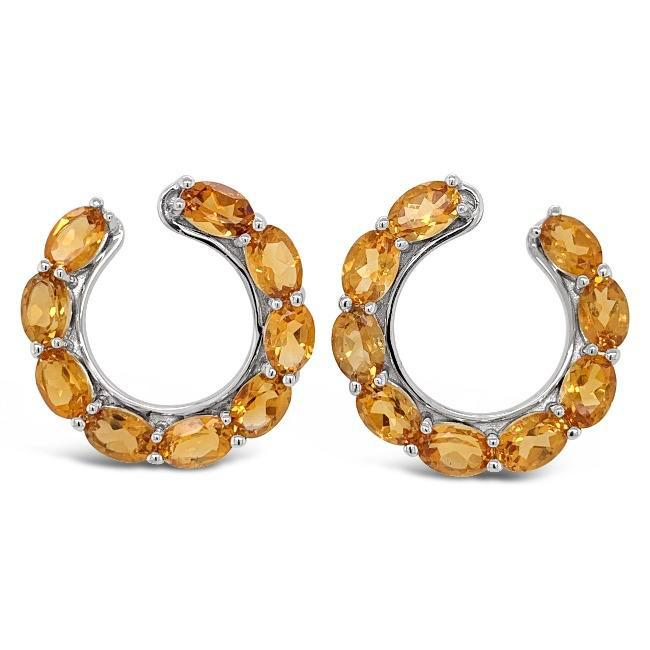7.50 Carat Genuine Citrine Earrings in Sterling Silver
