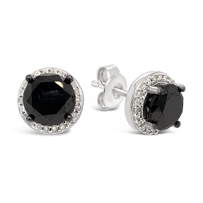 3.50 Carat Black & White Diamond Halo Stud Earrings in Sterling Silver