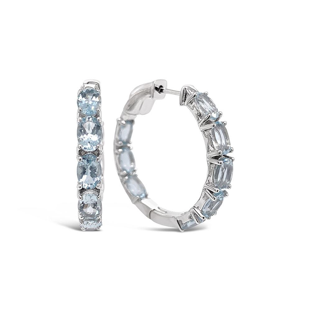 6.00 Carat Genuine Aquamarine Hoop Earrings in Sterling Silver