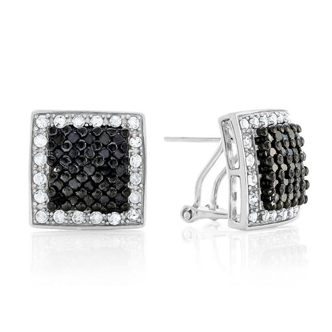 1.00 Carat Black & White Diamond Square Earrings in Sterling Silver