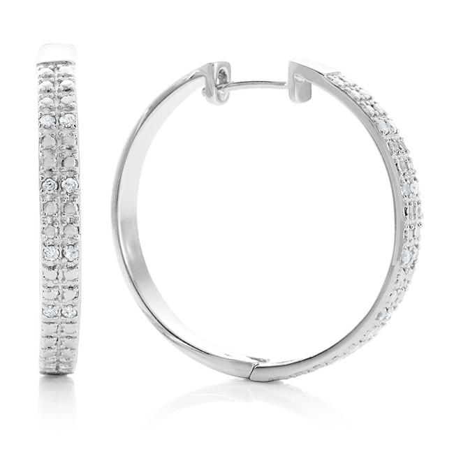 1/4 Carat Diamond Hoop Earrings in Sterling Silver