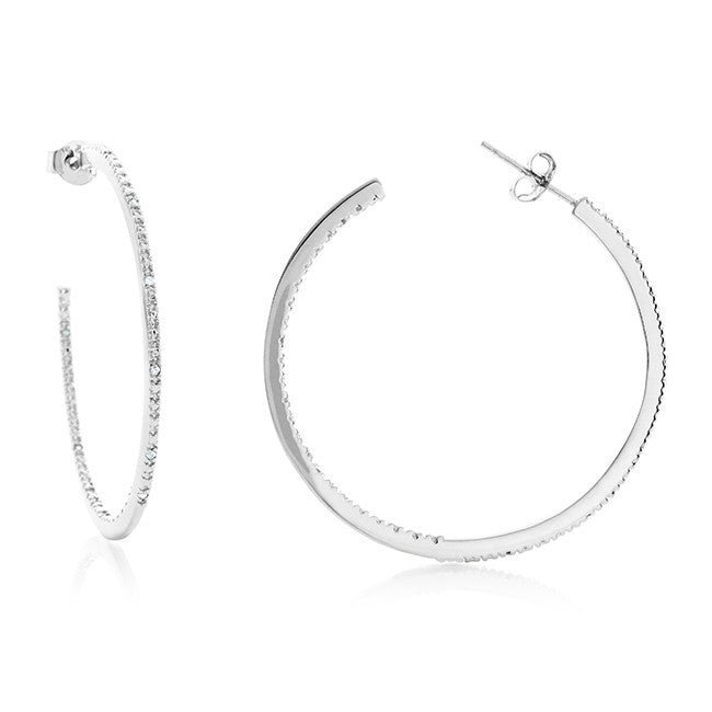 Sterling Silver & Diamond Inside-Outside Hoop Earrings (0.10ct - 39MM Diameter)