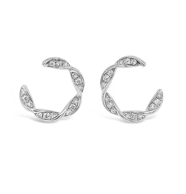 1/2 Carat Diamond Twist Earrings in Sterling Silver