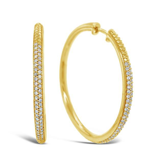 1/2 Carat Diamond Hoop Earrings in Yellow Gold-Plated Sterling Silver
