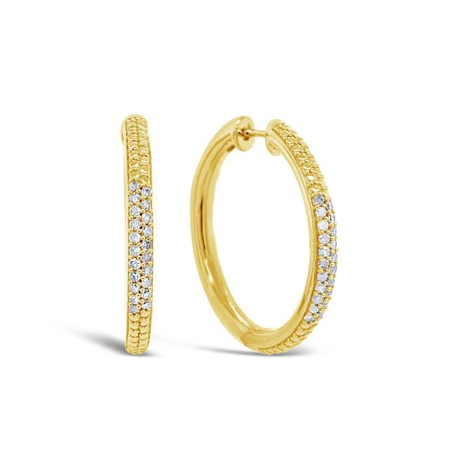 1/3 Carat Diamond Hoop Earrings in Yellow Gold-Plated Sterling Silver